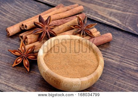 Group of cinnamon sticks and star anise with cinnamon powder in a bowl on table
