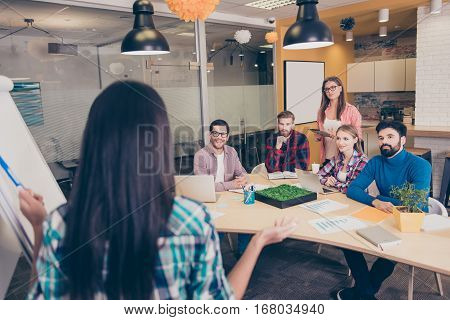 Successful Young Businesspeople Having Meeting Training In Modern Office. Back-view Of Speaker Near