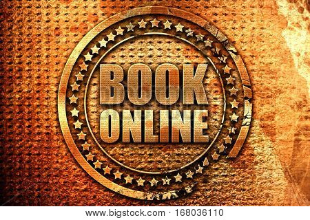 book online, 3D rendering, grunge metal stamp
