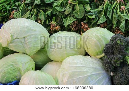 Cabbages And Greens For Sale In Bursa Market