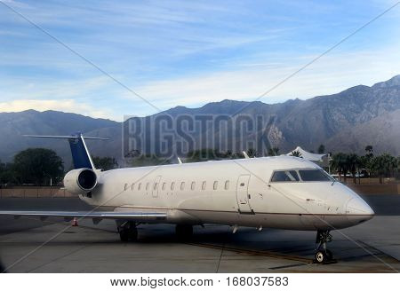 Small plane at the airport in Palm Springs California