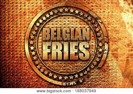 belgian fries, 3D rendering, grunge metal stamp