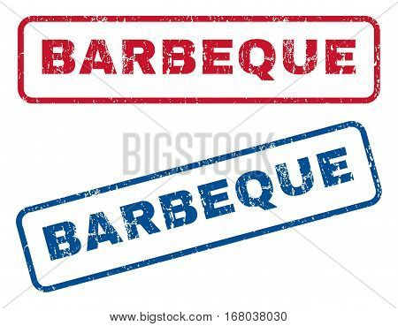 Barbeque text rubber seal stamp watermarks. Vector style is blue and red ink tag inside rounded rectangular shape. Grunge design and dirty texture. Blue and red stickers.