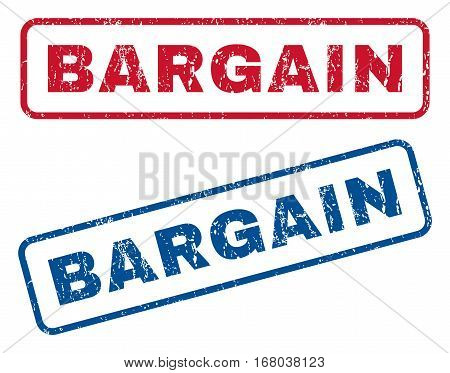 Bargain text rubber seal stamp watermarks. Vector style is blue and red ink caption inside rounded rectangular shape. Grunge design and dust texture. Blue and red signs.