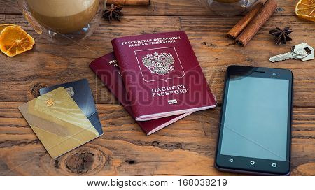 Credit Cards, Passport, Notebook, Cup Of Coffee
