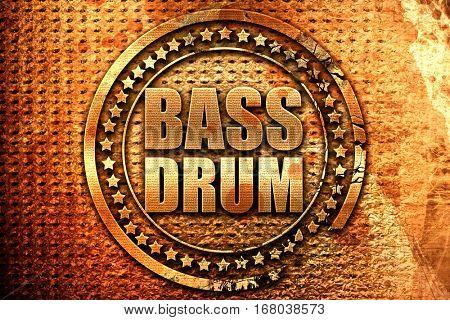 bass drum, 3D rendering, grunge metal stamp