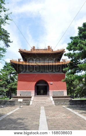 Tablet Pavilion (Pavilions of Tablets of Military Achievements and Imperial Merits) of Fuling Tomb of Qing Dynasty, Shenyang, Liaoning Province, China. Fuling Tomb is a UNESCO World Heritage Site.
