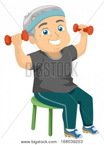 Illustration of an Elderly Male Lifting Dumbbells While Sitting on a Chair