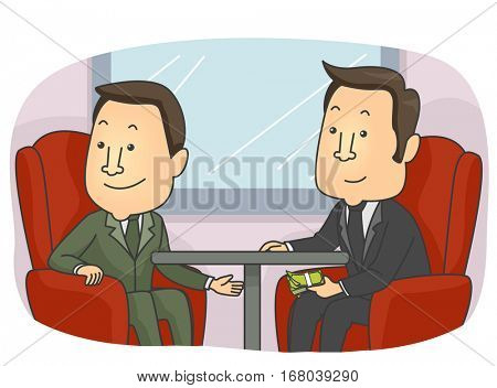 Conceptual Illustration Featuring Businessmen Exchanging Dirty Money Under the Table
