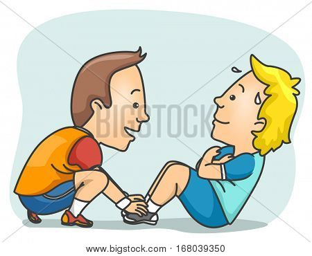 Illustration of a Fitness Trainer Helping His Client Perform the Crunch Test