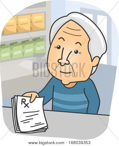 Illustration of an Elderly Man Presenting His Medical Prescription at the Pharmacy