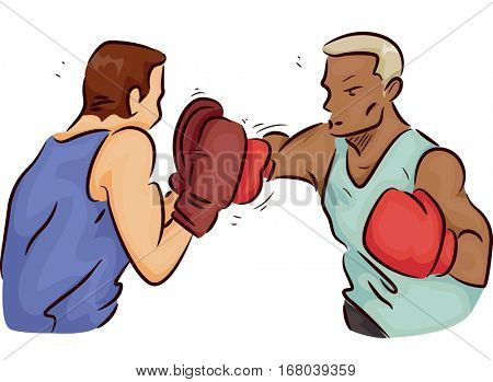 Illustration of a Boxer Throwing Punches as His Trainer Blocks Them with a Pair of Mitts