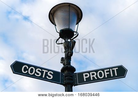 Costs Versus Profit Directional Signs On Guidepost