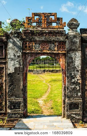 Beautifully designed doorway in Hue Imperial Palace, Purple Forbidden City, Vietnam
