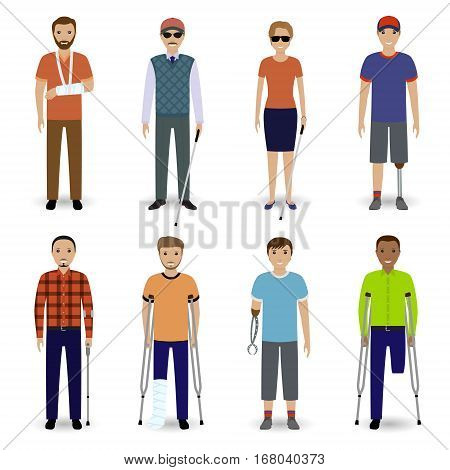 Group of eight different kind disability people. Invalid people concept. Flat style vector illustration.