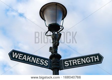 Weakness Versus Strength Directional Signs On Guidepost