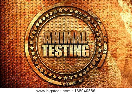 animal testing, 3D rendering, grunge metal stamp
