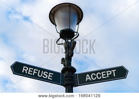 Refuse Versus Accept Directional Signs On Guidepost