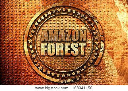 amazon forest, 3D rendering, grunge metal stamp