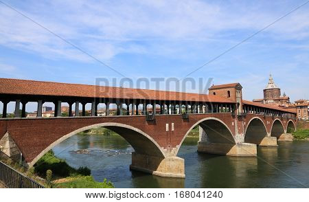 Covered Bridge Over The Ticino River In Pavia