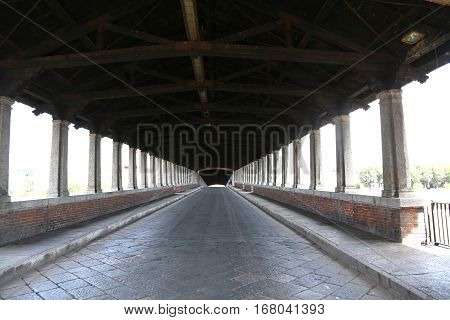 Wooden Bridge Over The Ticino River In Pavia