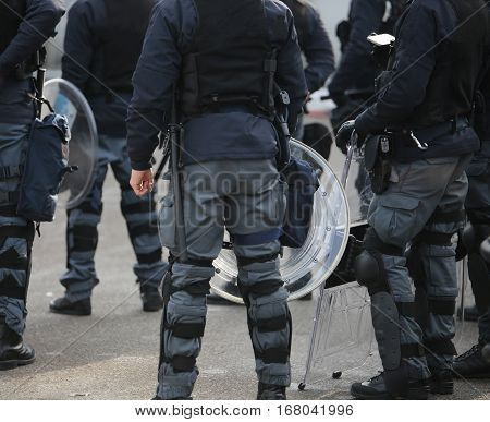 Riot Police During The Uprising Town