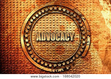 advocacy, 3D rendering, grunge metal stamp