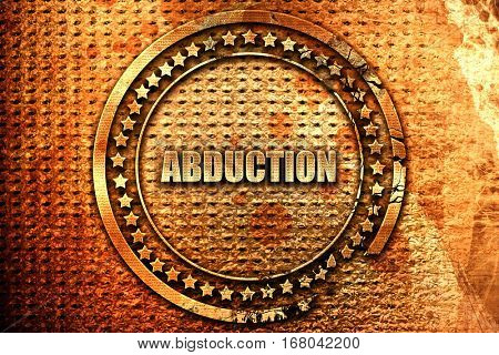 abduction, 3D rendering, grunge metal stamp
