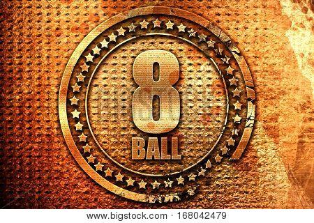 8 ball, 3D rendering, grunge metal stamp