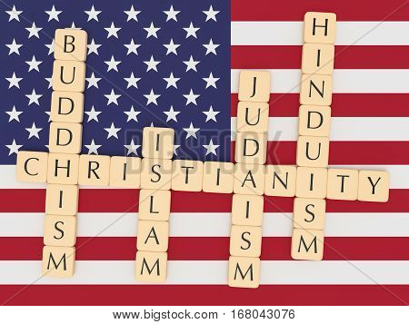 Religion Diversity In The USA Concept: Letter Tiles Creating The Words Christianity Islam Judaism Buddhism Hinduism with US flag 3d illustration