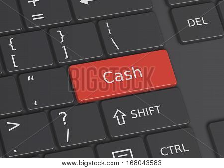 A 3D illustration of the word Cash written on a red key from the keyboard