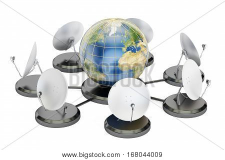 global telecommunications concept 3D rendering isolated on white background