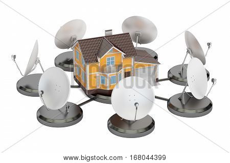 Telecommunications concept. Satellite dishes with house 3D rendering isolated on white background