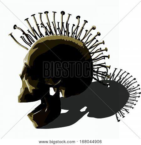 Punk skull. An vector illustration on white background.