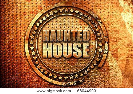haunted house, 3D rendering, grunge metal stamp