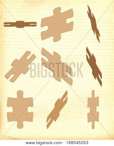 Puzzle pieces. Vector illustration. Vintage processing on old paper.