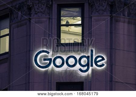 Montreal, Canada - December 22, 2016: Picture of the Google logo on Google headquarters on Sainte Catherine Street in Montreal, Quebec, Canada
