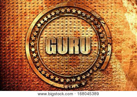 guru, 3D rendering, grunge metal stamp