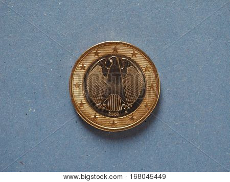 1 Euro Coin, European Union, Germany Over Blue