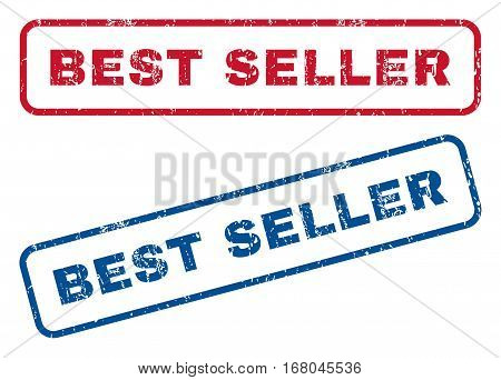 Best Seller text rubber seal stamp watermarks. Vector style is blue and red ink caption inside rounded rectangular shape. Grunge design and unclean texture. Blue and red signs.