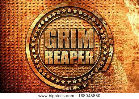 grim reaper, 3D rendering, grunge metal stamp