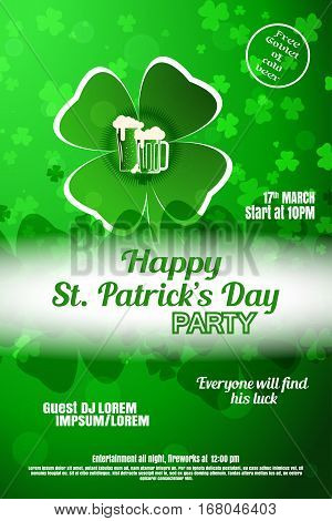Vector Happy St. Patrick's Day night party poster on the gradient green background with leaves of clover and glow.