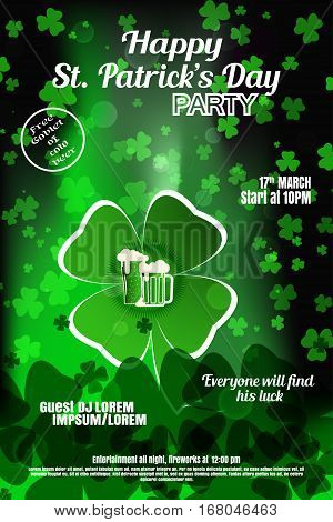 Vector Happy St. Patrick's Day night party poster on the gradient dark green background with leaves of clover.