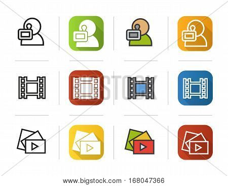 Filming icons set. Flat design, linear and color styles. Videographer, video film, play button symbol. Isolated vector illustrations
