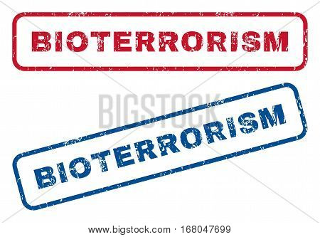 Bioterrorism text rubber seal stamp watermarks. Vector style is blue and red ink tag inside rounded rectangular banner. Grunge design and dust texture. Blue and red signs.