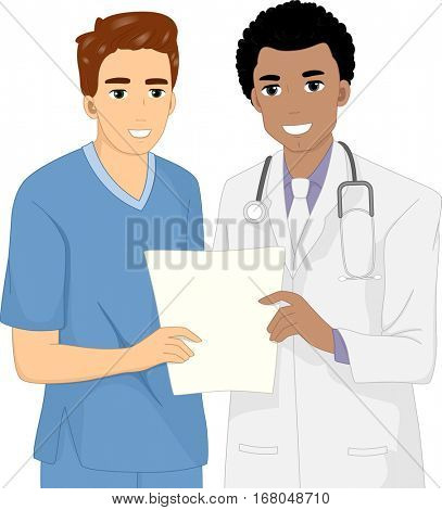 Illustration of a Doctor Holding the Results of a Diagnostic Test and Explaining it to His Patient