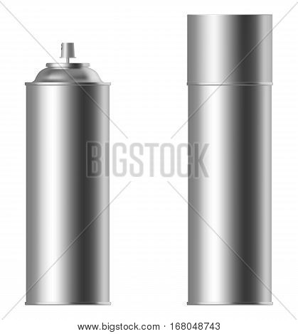 Spray can set isolated on white bacground