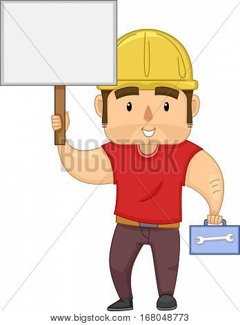 Illustration of a Muscular Construction Worker Carrying a Box of Tools Holding a Blank Board