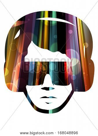 Double Exposure Illustration Featuring Colorful Lights Forming the Outline of a Man Wearing Sunglasses and Headphones