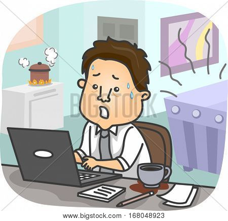 Illustration of a Stressed Man Trying to Work While Blocking Out Distractions